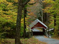 covered bridge and foliage in vermont