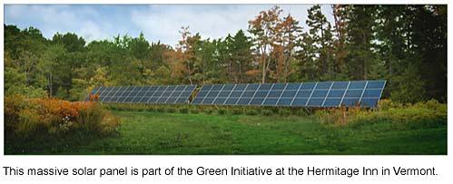 Vermont Green loging, VermontGreen Hotels, Solar Panels at Hermitage Inn West Dover Vermont Greeninitiative